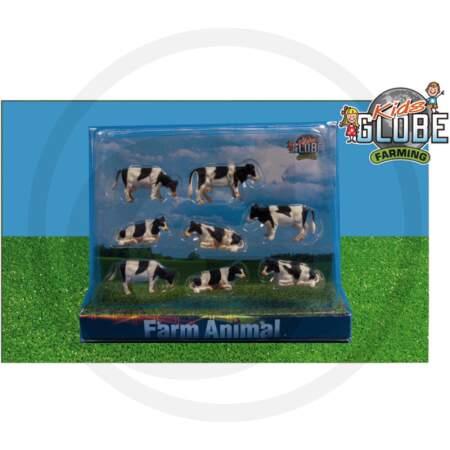Kids globe farming žaislas 8 juodmargės karvutės karvių rinkinys