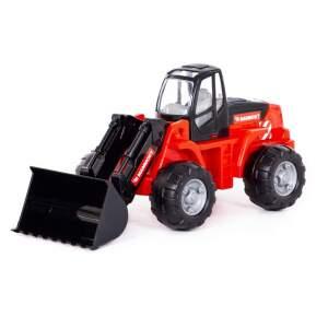 Traktorius su ekskavatoriumi, raudonas