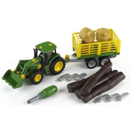 KLEIN John Deere traktorius su priekaba ir priedais