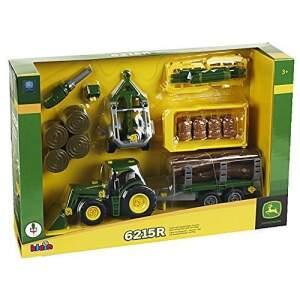 Statybos rinkinys KLEIN John Deere traktorius su priekaba ir priedais
