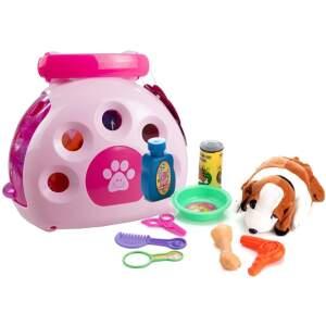 Šuniukas su dėže ir priedais