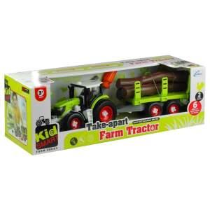Traktorius su rąstais ir atsuktuvu